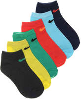 Nike Boys Low Multi Youth No Show Socks - 6 Pack -Multicolor