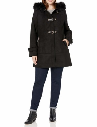 City Chic Women's Apparel Women's Plus Size Coat with Buckle Detail and Faux Fur Lined Hood