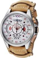 Adee Kaye Men's 'WHIRLLING COLLECTION' Quartz Stainless Steel and Leather Sport Watch, Color:Yellow (Model: AKE8900-M/LBN-WIDE)