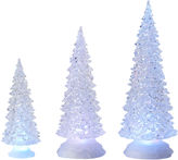 Asstd National Brand Set of 3 Tree Figurines with LED Lights