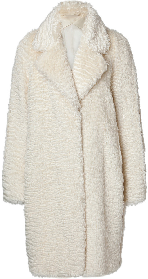 Maison Martin Margiela Mohair-Cotton Faux Fur/Leather Coat
