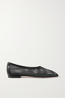 PORTE & PAIRE Leather-trimmed Fishnet Loafers - Black