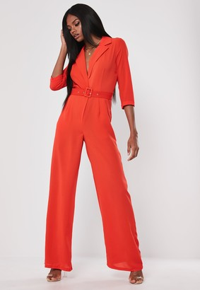 Missguided Red Wide Leg Belted Wrap Jumpsuit