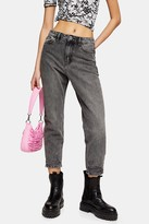Topshop Womens Petite Grey Rip Hem Mom Jeans - Grey