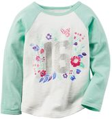 Carter's Girls 4-8 Colorblocked Raglan Long Sleeve Glitter Graphic Tee