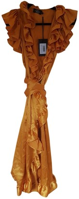 De La Vali Orange Silk Dresses