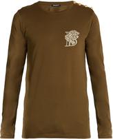 Balmain Logo-embroidered long-sleeved cotton T-shirt