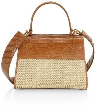 Nancy Gonzalez Small Lexi Raffia & Crocodile Top Handle Bag