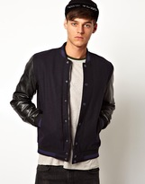 Asos Wool Bomber Jacket With Faux Leather Sleeves