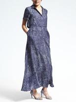 Banana Republic Piece & Co. Batik Silk Maxi Shirtdress