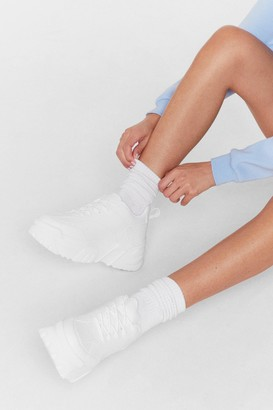 Nasty Gal Womens Kickin' It Sole-o Chunky Lace-Up Sneakers - White