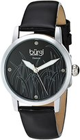 Burgi Women's Quartz Stainless Steel and Leather Casual Watch, Color:Black (Model: BUR173BK)