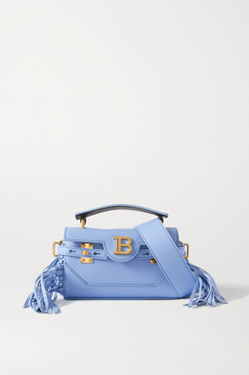 Balmain B-buzz 19 Small Fringed Leather Shoulder Bag - Blue