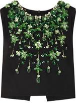 Miu Miu Cropped Embellished Stretch-crepe Top - Black