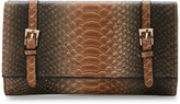 Urban Expressions Tan Michelle Snake-Embossed Flap Wallet