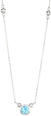 Anzie Rhodium-Plated Sterling Silver & Swiss Blue Topaz Pendant Necklace
