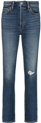 RE/DONE Distressed-Effect Straight-Leg Jeans