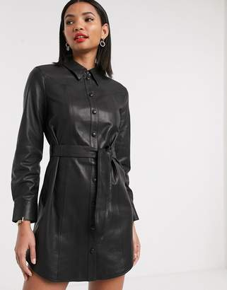 And other stories & western detail leather shirt dress in black