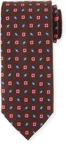 Peter Millar Gloucester Floral-Print Silk Print Tie, Cocoa