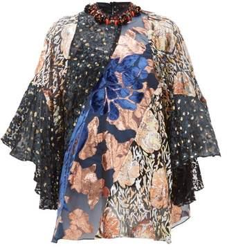 Biyan Jona Beaded Neck Velvet And Brocade Blouse - Womens - Black Pink
