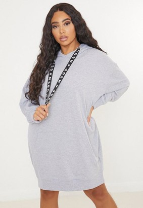 Missguided Plus Size Gray Msgd Graphic Tape Hoodie Dress