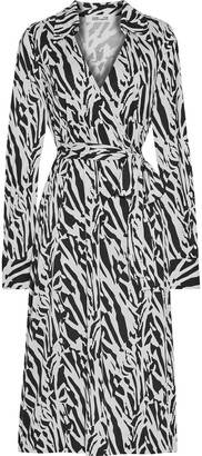 Diane von Furstenberg Power Wrap-effect Tiger-print Silk-jersey Midi Dress