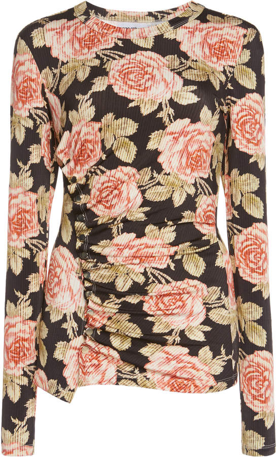 Paco Rabanne Ruched Floral-Print Cotton Top Size: 34