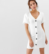 Asos Tall DESIGN Tall seamed mini dress with puff sleeves and contrast buttons