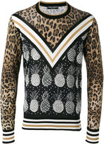 Dolce & Gabbana pineapple leopard print jumper - men - Silk - 48