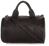 Alexander Wang Rocco Satchel In Black With Rose Gold Hardware