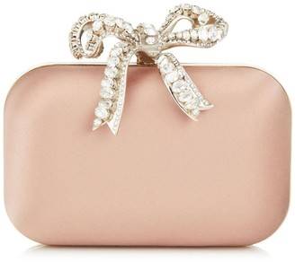 Jimmy Choo CLOUD Ballet Pink Satin Clutch Bag with Crystal Bow Clasp