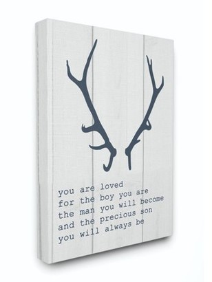 The Kids Room by Stupell Kids Inspirational Word Boys Deer Antler Animal Design Canvas Wall Art by Daphne Polselli