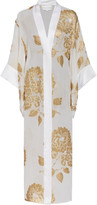 Marie France Van Damme Metallic Embroidered Silk-Blend Kimono