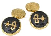 Torrini Black Enamel 18K Gold Logo Cufflinks