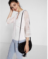 Express Lace Keyhole Cut-out Bell Sleeve Tee