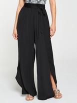 Very Wrap Tie Belt Beach Trousers - Black
