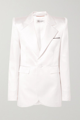 Saint Laurent Silk-blend Satin Blazer - Ivory