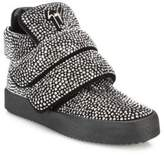 Giuseppe Zanotti Swarovski Crystal & Leather Mid-Top Sneakers