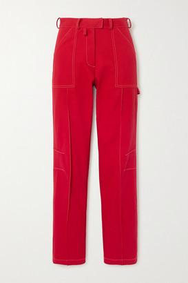Christopher John Rogers Cotton-twill Straight-leg Cargo Pants - Red