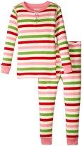 Hatley Holiday Stripe Henley Pajamas (Toddler/Kid) - Pink - 2