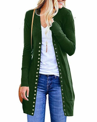 GIKING Women's V-Neck Button Down Knitwear Long Sleeve Basic Knit Cardigan Sweater with Pockets UK 6-8 = Size S
