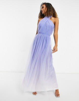 Chi Chi London high neck ombre maxi dress in blue