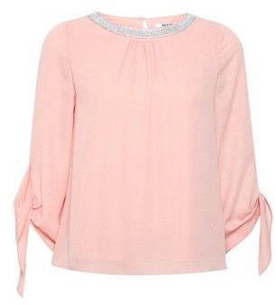 Dorothy Perkins Womens Dp Petite Apricot Embellished Neck Top