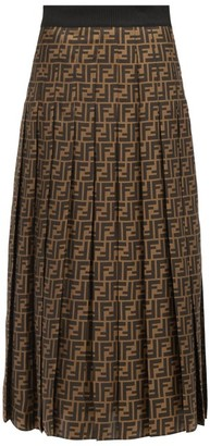 Fendi Pleated Ff-print Silk-satin Midi Skirt - Brown