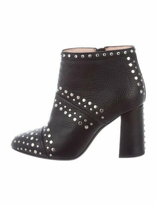 Lanvin Leather Studded Accents Boots Black