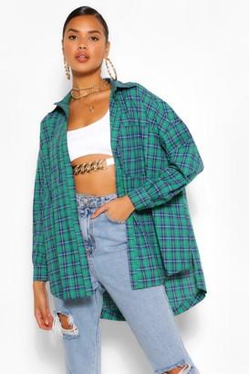 boohoo Green Oversized Flannel Shirt