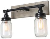Lnc LNC 2-Light Vanity Light Mason Jar Bathroom Faux Wood Wall Sconce Ligh