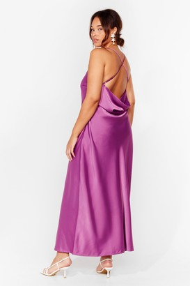 Nasty Gal Womens Cowl Back Later Plus Maxi Dress - Mauve