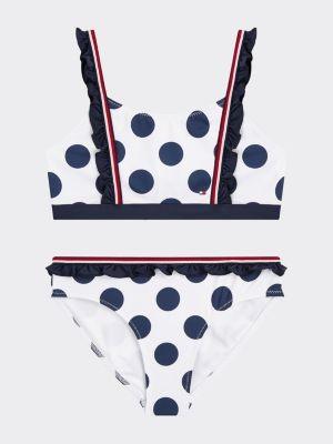 Tommy Hilfiger Polka Dot Ruffle Bralette Bikini Set
