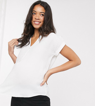 New Look Maternity overhead rolled sleeve blouse in white
